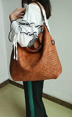 Large Women Vintage Hobo Leather Purses Handbags Shoulder Bucket tote Bag Brown