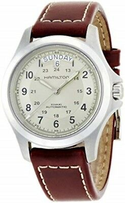 NEW HAMILTON KHAKI KING 40MM BEIGE DIAL BROWN LEATHER STRAP H64455523