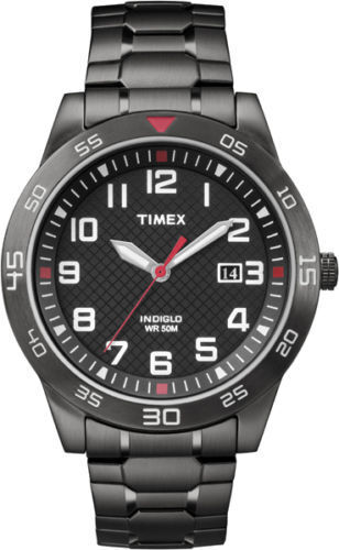 Timex Men's Black IP Watch, Stainless Steel Expansion Band