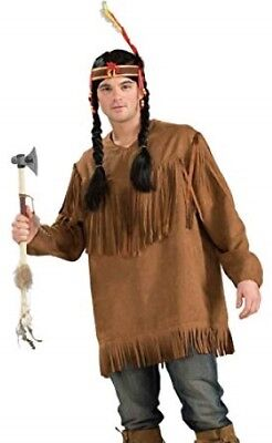 Native American / Frontiersman Shirt Brown Poly Suede Fringed Costume Shirt Lg