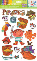 3D PUFFY PIRATES wall stickers 14 decals sparkle room decor treasure skull ship