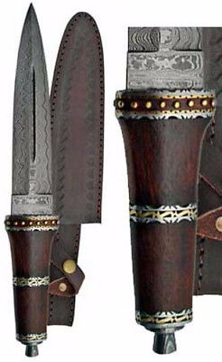 "Dirk Wood Persian-Style 13-3/4"" Knife Dagger Athame 8-1/4"" Damascus Steel Blade"