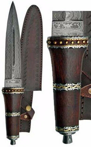"""Dirk Wood Persian-Style 13-3/4"""" Knife Dagger Athame 8-1/4"""" Damascus Steel Blade"""