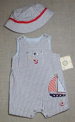 LITTLE ME BOYS 2 P/C NAUTICAL SEERSUCKER ROMPER WITH MATCHING HAT C SZ AVAIL NWT