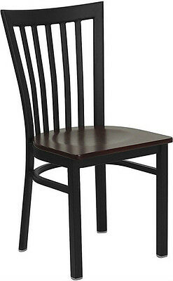 (Black School House Metal Restaurant Chair With Mahogany Wood Seat)