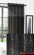 Black Red Eyelet Curtains