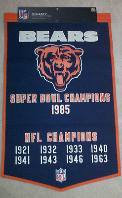 Super Bowl Dynasty Banner - CHICAGO BEARS  DYNASTY BANNER w/ Super Bowl 1985 Year