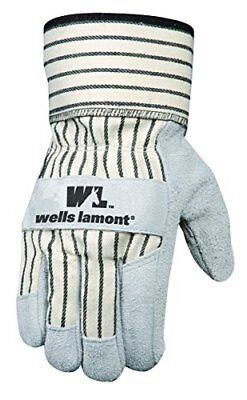 (Wells Lamont Leather Work Gloves with Safety Cuff, Suede Palm, Large (4000L))