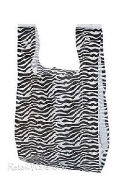 Plastic Bags 1000 Small Zebra Print Animal Gift Merchandise 8 X 5 X 16