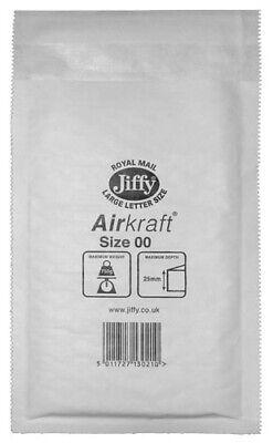 Box of 100 White Jiffy Airkraft Bubble Envelopes Size 00 115mm x 195mm