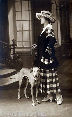 Antique Photo~Well Dressed Woman~Greyhound Dog~Dogs~Hat~ NEW Large Note Cards