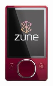 Microsoft Zune 80GB Red Video Digital Media MP3 Player FM