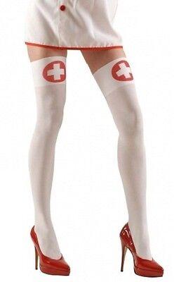 bianco infermiera Calze donna autoreggenti coscia alti xl taglie forti Costume (