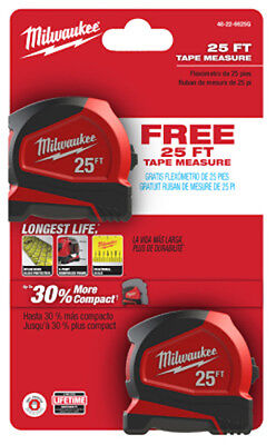 Milwaukee  48 22 6625G  Compact Tape Measure 25 Ft  2 Pack