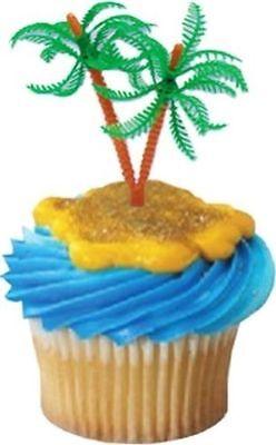 12 PALM TREE BEACH SAND SUMMER FUN HAWAIIAN LUAU PARTY CAKE CUPCAKE PICKS](Hawaiian Cupcakes)