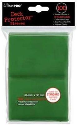 ((100) *NEW* ULTRA PRO CARD SLEEVES Green Deck Protectors MTG Magic FREE SHIPPING)