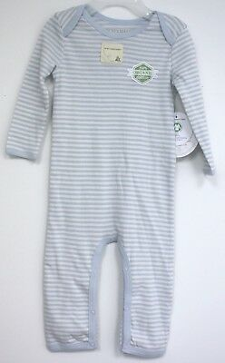 Burts Bees Baby Organic Cotton Outfit long sleeve White light Blue stripe infant