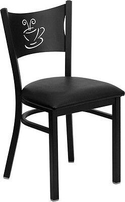 Black Coffee Back Metal Restaurant Chair With Black Vinyl