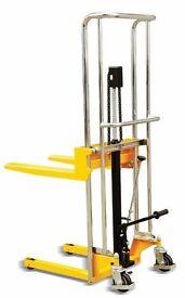 Hydraulic Manual Fork Lift Warehouse Stacker Pallet Pump Stacker adjustable work bench