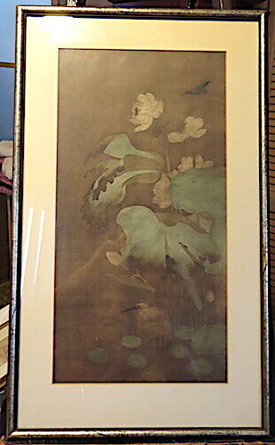 SUNG, SONG DYNASTY , SILK PAINTING, LOTUS, WHITE HERON & KINGFISHERS, FRAMED