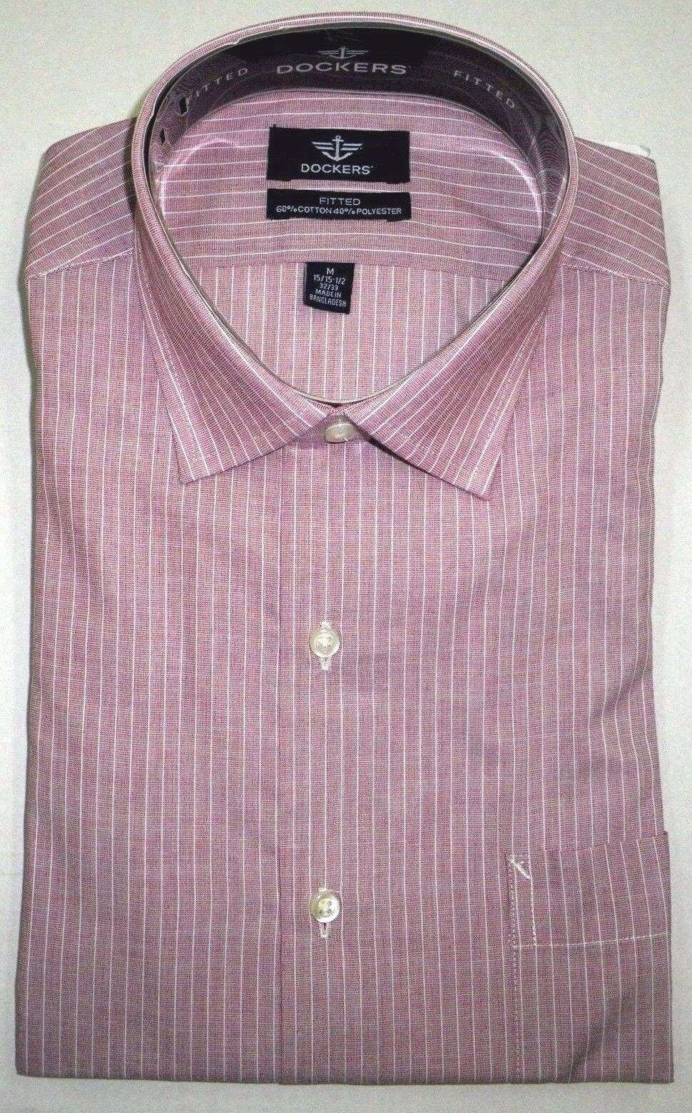 NWT DOCKERS Mens Long Sleeve Fitted Dress Shirt Striped Burg