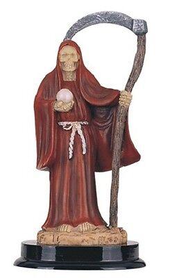 "5"" Inch Red Santa Santisima Muerte Holy Death Grim Reaper Statue Skull Figurine"