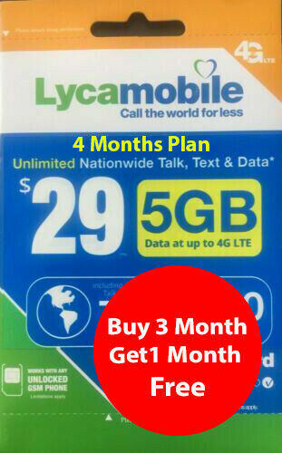 Lycamobile Preloaded Sim $29 x 3 + 1 Extra month Free (4 Months 5GB Per Month) U