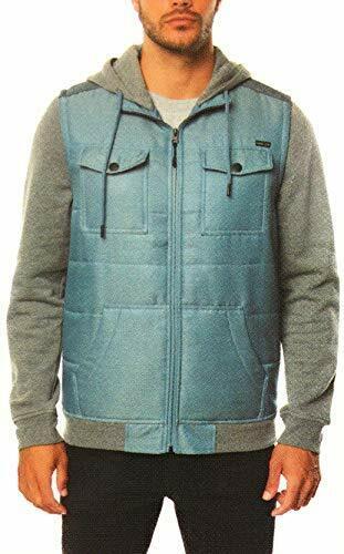 Hang Ten Men's Hooded Full Zip Fleece Coat Jacket Blue Mirag