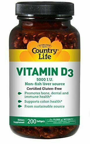 Country Life Vitamin D3 5,000I.U. 125mcg Non-Fish Liver Source - Support...