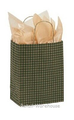 Paper Shopping Bags 25 Green Gingham Gift Retail Merchandise 8 X 4 X 10 Cub