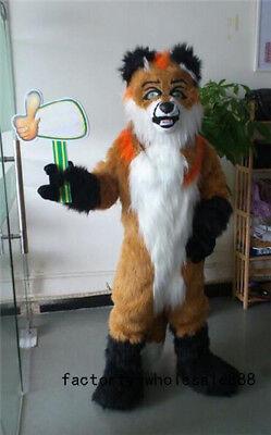 Brown Husky Dog Mascot Long Fur Costumes Fox Halloween Fancy Suit Unisex Cosplay ()