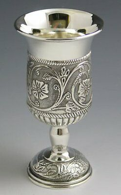 Silver Plated Kiddush Wine Cup on Base Floral Design