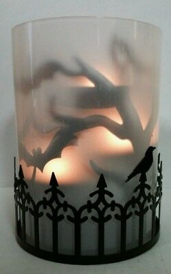 Yankee Candle FOGGY NIGHTS Bat Silhouettes Multi Tea Light Holder Halloween RARE