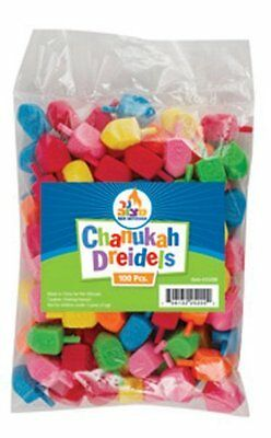 Hannuka Dreidels in bulk pack of 100 colored plastic draydels Medium, New, Free ](Dreidels In Bulk)