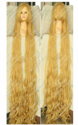Long Rapunzel Wig (Blonde Tangled Rapunzel 150CM Long Wavy Curly Cosplay Party Wig)