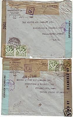 1944  2 x DOUBLE CENSORED SURINAME TO PHILA.USA COVERS