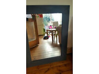 Large brown faux leather mirror 70 X 90 cm