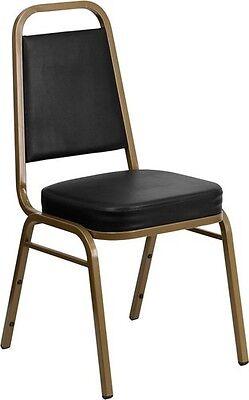 10 Pack Banquet Chair Black Vinyl Restaurant Chair Trapezoidal Back Stacking