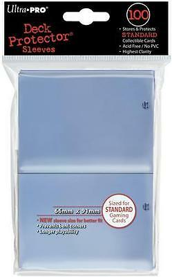 ((100) *NEW* ULTRA PRO CARD SLEEVES Clear Deck Protectors MTG Magic Standard Size)