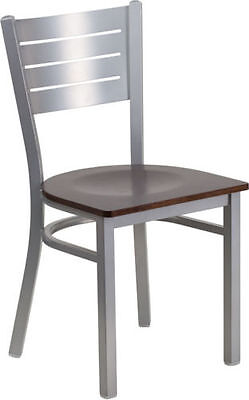 Silver Slat Back Metal Restaurant Chair With Walnut Wood Seat