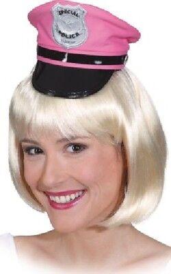 Damen Rosa Polizei Polizist Junggesellinnenabschied Mini Hut Kostüm Kleid Outfit ()