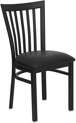 (Black School House Metal Restaurant Chair With Black Vinyl Seat)