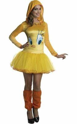 Tweety Bird Looney Tunes Dress Halloween Adult Costume plus tights & hat MEDIUM