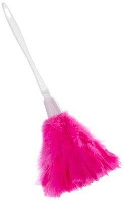 Hot Pink Turkey Duster with white Handle Feather Tickler](Pink Feather Duster)