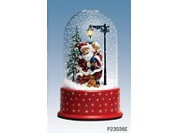 BRAND NEW 36cm Christmas Snowdome With Red Base - Static teddy Design