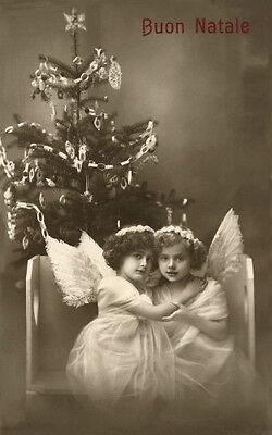 c1900 Italian Christmas Photo~Buon Natale~Sweet Girl Angels~Tree  NEW Note Cards