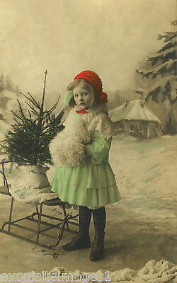 c1900 French Christmas Photo~Girl~Antique Sled~Xmas Tree~Muff~NEW Lg Note Cards