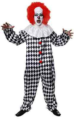 Mens Black White Dead Killer Clown + Wig Halloween Fancy Dress Costume Outfit - Halloween Costumes Dead Clowns