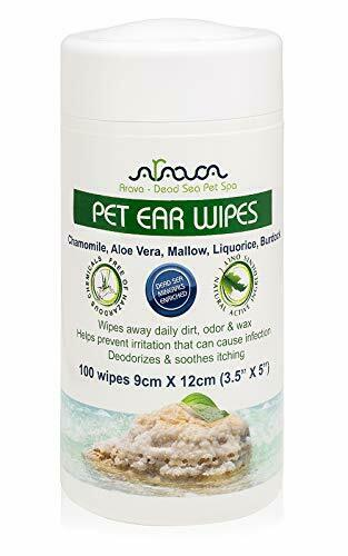 Arava Pet Ear Cleaner Wipes - for Dogs Cats Puppies & Kittens - 100 Count - N...
