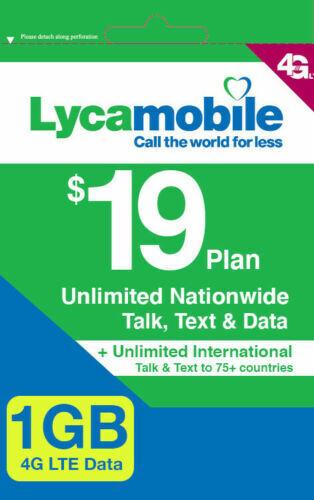 Lycamobile $19 Plan Preloaded Sim Card  Free X 1  Month Unli
